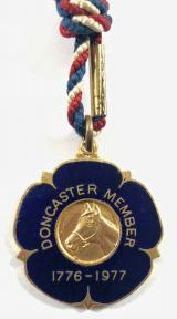 1977 Doncaster Racecourse horse racing club member badge No 696