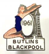 Butlins 1961 Blackpool holiday camp bathing beauty tower badge