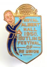 Royal Albert Hall 1950 Butlins Festival of re-union badge