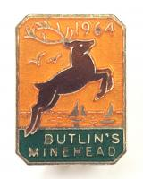 Butlins 1964 Minehead holiday camp leaping stag badge