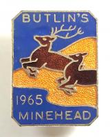 Butlins 1965 Minehead holiday camp stag and doe badge