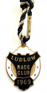 1969 Ludlow Race Club horse racing badge