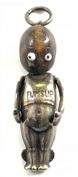WW1 Fumsup Touch Wood lucky charm silver pendant doll