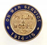 Phelon & Moore Ltd motorcycle manufacturers 1914 On War Service badge