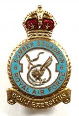 RAF No 6 Bomber Squadron Royal Air Force badge c1940s