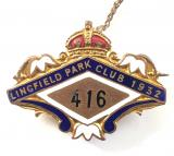 1932 Lingfield Park Club horse racing badge