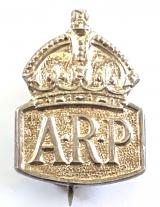 Air Raid Precautions wardens silver miniature ARP pin badge