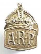 Air Raid Precautions silver miniature ARP badge by Usher Birmingham