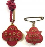 British Automobile Racing Club BARC Goodwood 1957 pair of badges