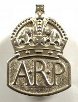 Air Raid Precautions 1937 1st Issue silver ARP warden pin badge