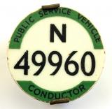 PSV Bus Conductor London Traffic Area licensing badge