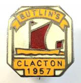 Butlins 1957 Clacton holiday camp sailing boat badge