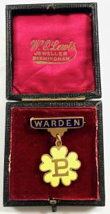Primrose League Warden badge in presentation case