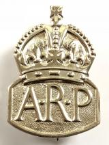 Air Raid Precautions 1937 silver lady warden ARP pin badge