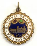 National Union of Railwaymen NUR trade union badge watch fob