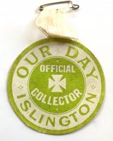 WW1 British Red Cross Society's 'Our Day Islington' appeal official collector fundraising badge