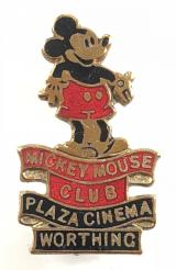 Mickey Mouse Club Plaza Cinema Worthing pin badge circa 1934
