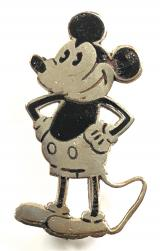 Mickey Mouse cartoon character badge by Charles Horner circa 1930