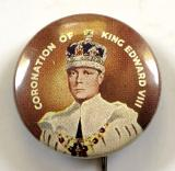 Edward VIII 1937 Coronation photographic celluloid tin button badge Dia 22mm.