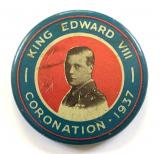 Edward VIII 1937 Coronation photographic celluloid tin button badge