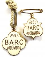 British Automobile Racing Club BARC Goodwood 1955 pair of badges