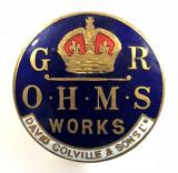 WW1 David Colville & Sons O.H.M.S Works on war service badge