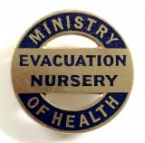 WW2 Ministry of Health evacuation nursery home front badge