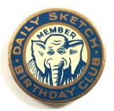 Daily Sketch Newspaper childrens club tin button elephant badge