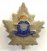 Royal Canadian Air Force silver and enamel RCAF maple leaf pin badge