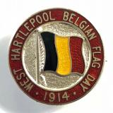 WW1 West Hartlepools Belgian Flag Day 1914 silver fundraising badge