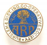 Burslem & District Co-Operative Society Air Raid Precaution ARP badge
