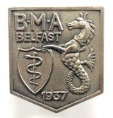 British Medical Association BMA Belfast 1937 annual meeting badge