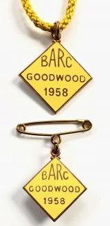 British Automobile Racing Club BARC Goodwood 1958 pair of badges