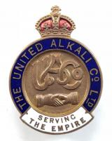 WW1 United Alkali Co Ltd Liverpool on war service workers numbered badge