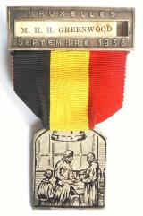 International Society of Surgery / Societé Internationale de Chirurgie 1938 Brussels Congress badge