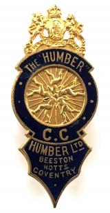 Humber Ltd Beeston Bicycles Motorcycles and Cars badge circa 1903 to 1908
