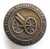 WW1 Coventry Ordnance Works Special War Service munition makers badge