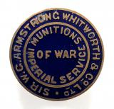 WW1 Sir W.G.Armstrong Whitworth & Co Ltd Munitions of War numbered badge