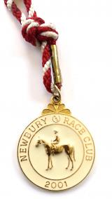 2001 Newbury Race Club horse racing membership badge