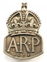 Air Raid Precautions 1939 silver ARP lady warden badge front stamped C6896