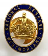 WW1 National Reserve Westmorland home front badge